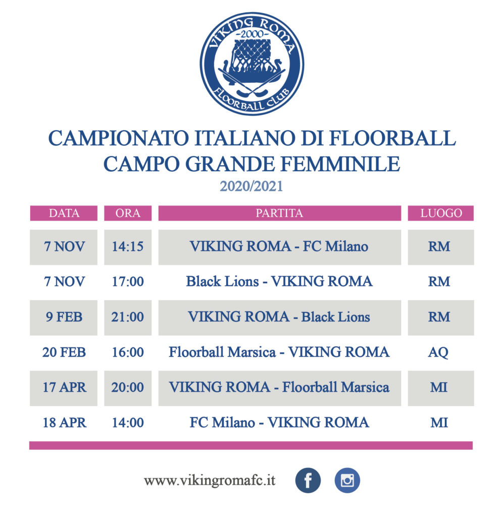 Calendario floorball femminile